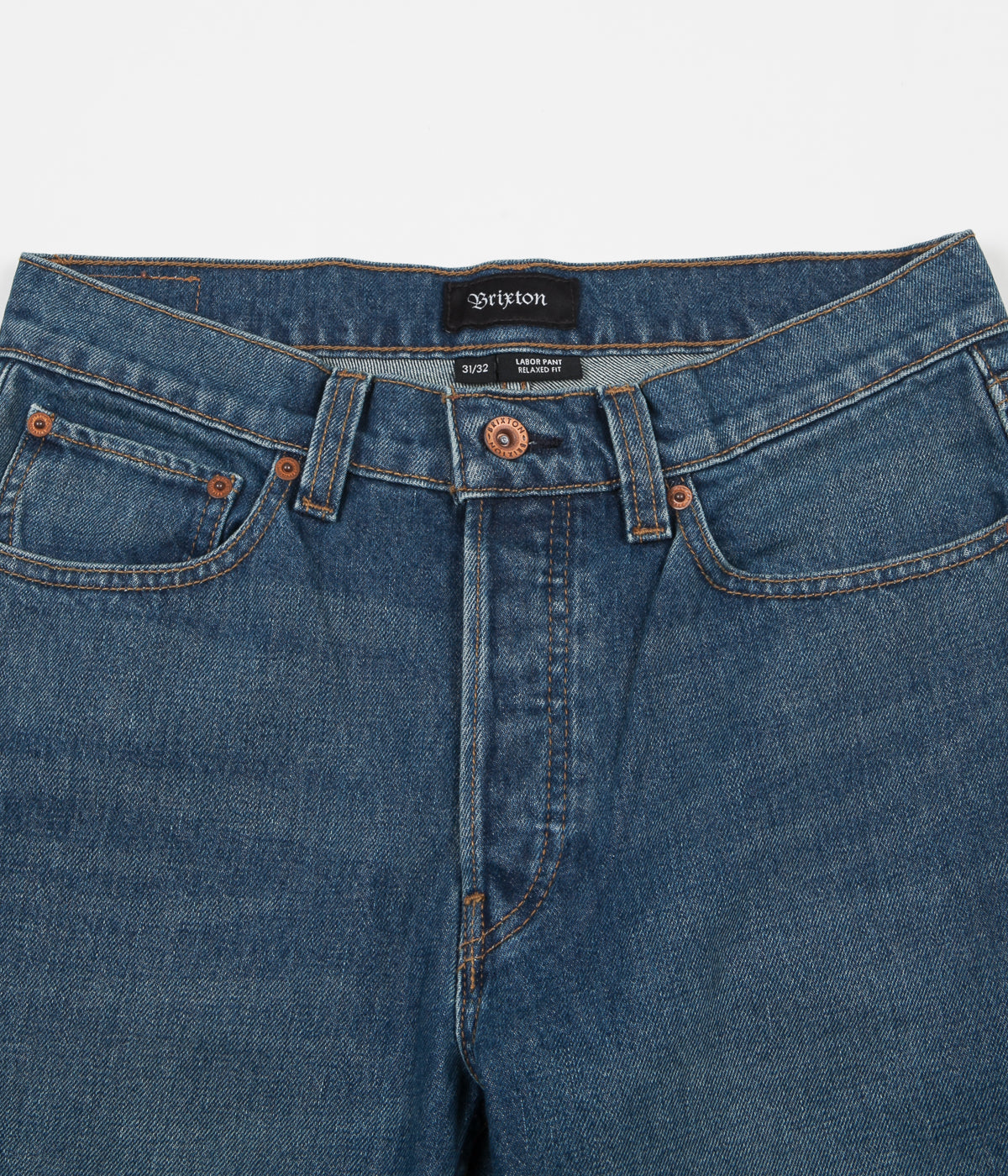 Brixton Labor 5 Pocket Denim Trousers - Worn Indigo