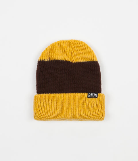 Brixton Langley Stripe Beanie - Mustard / Brown