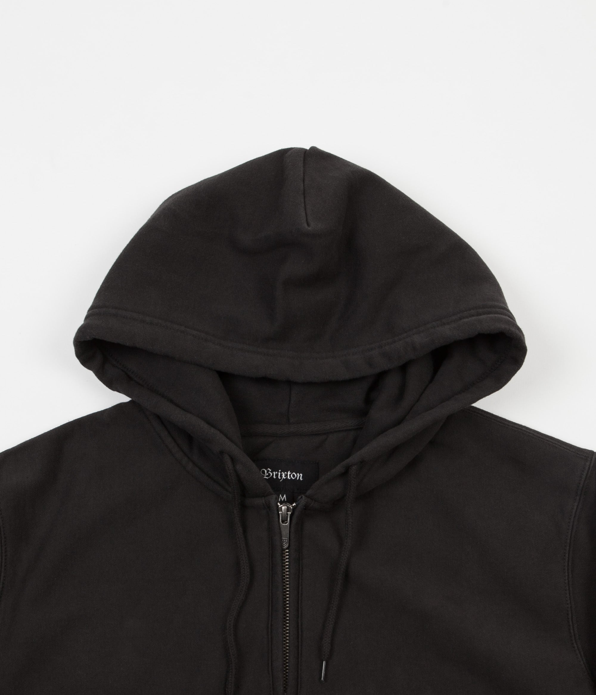 Brixton Longman 1/2 Zip Fleece Hoodie - Washed Black