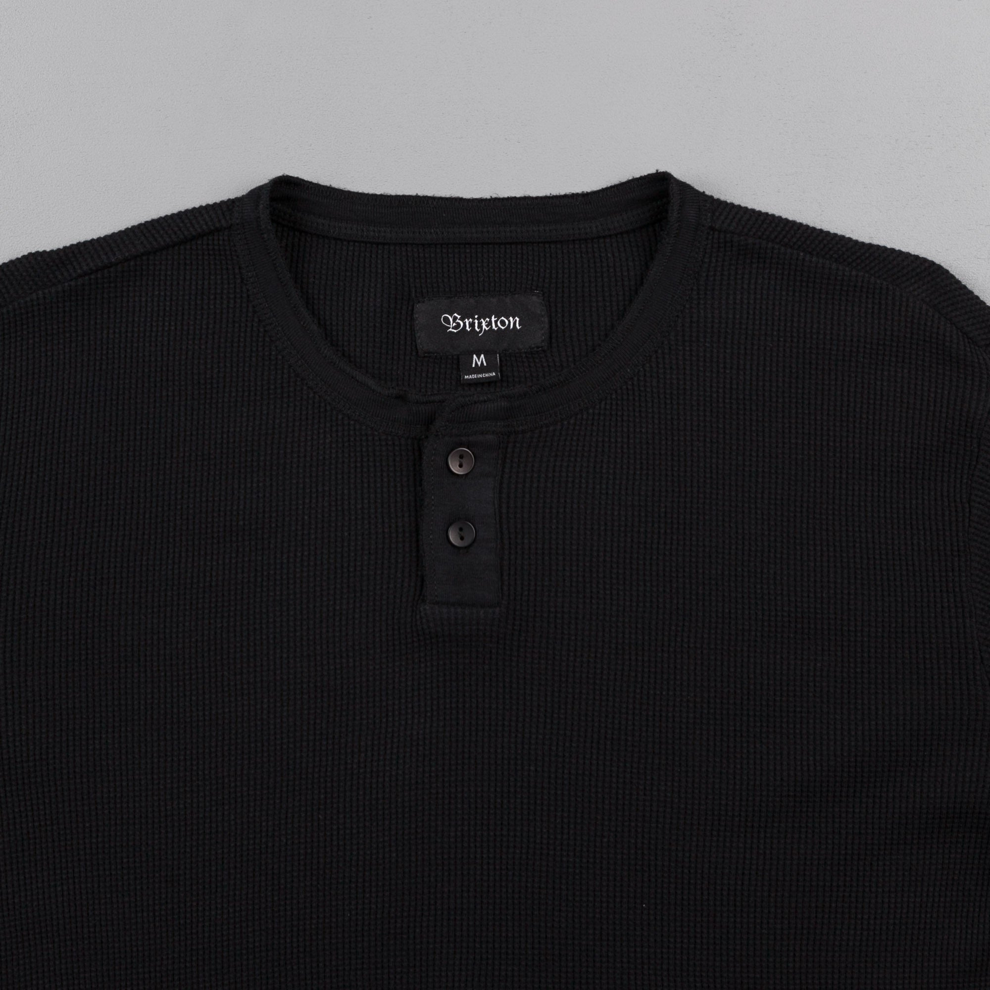 Brixton Redford Long Sleeve Henley Shirt - Black