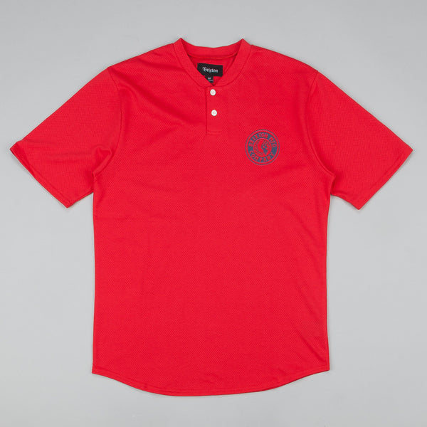 Brixton Rival Short Sleeve Mesh Henley T-Shirt - Red