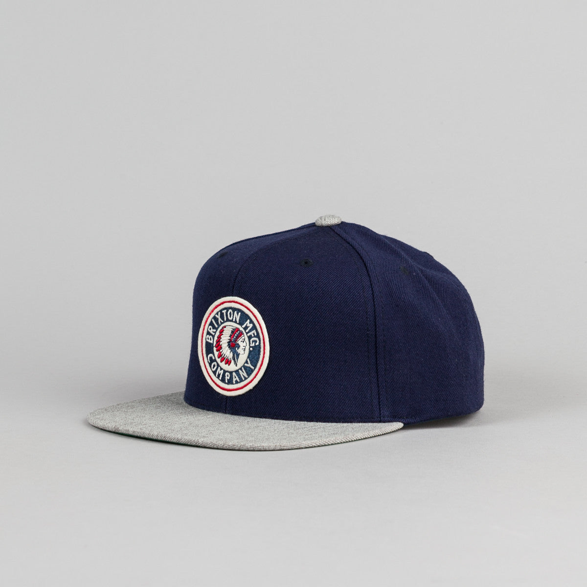 Brixton Rival Snapback Cap - Navy / Light Heather Grey