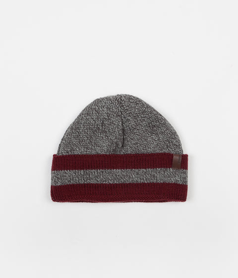 Brixton Valdez Beanie - Heather Grey / Burgundy