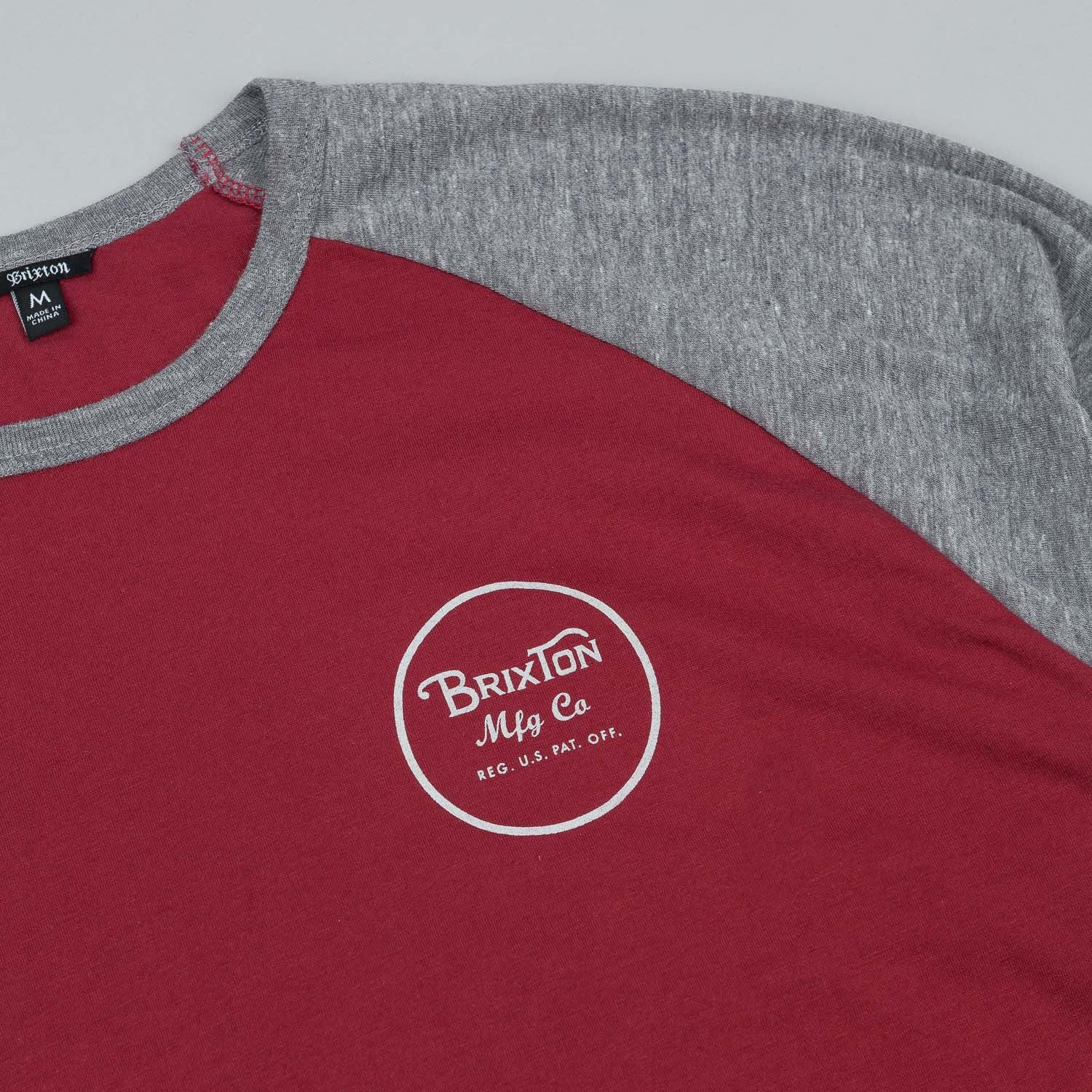 Brixton Wheeler 3/4 Sleeve Raglan T-Shirt - Burgundy / Heather Grey