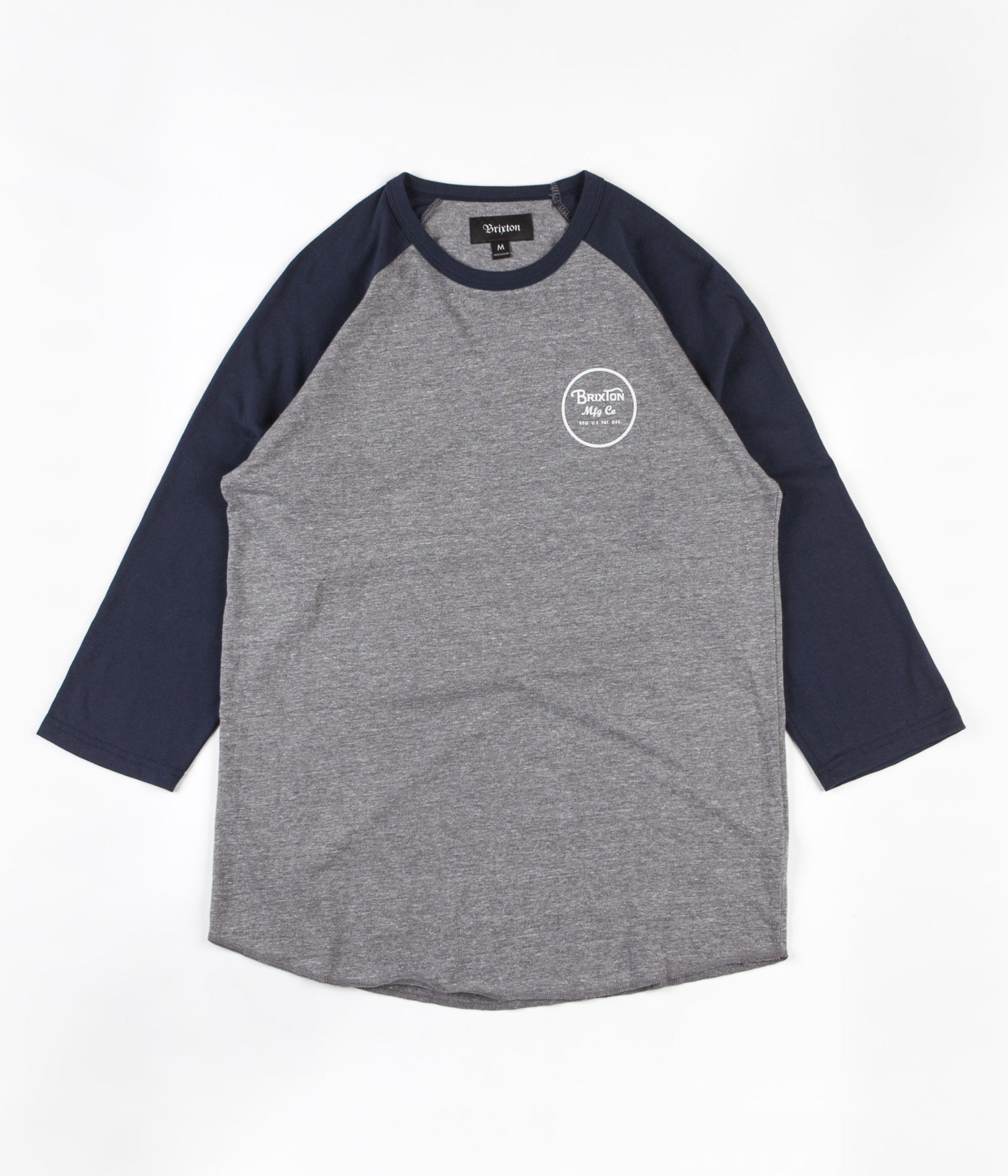 Brixton Wheeler 3/4 Sleeve T-Shirt - Heather Grey / Navy
