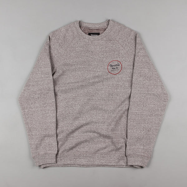 Brixton Wheeler Crewneck Sweatshirt - Heather Grey / Maroon