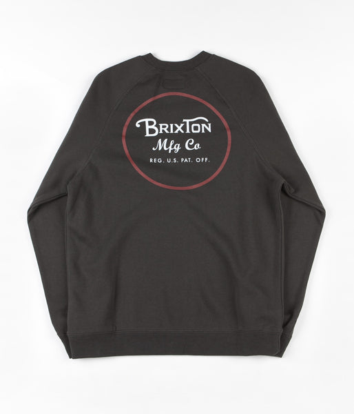 Brixton Wheeler Crewneck Sweatshirt - Washed Black / Red