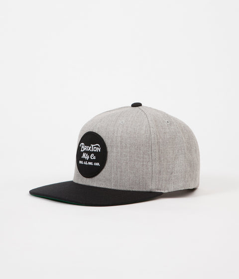 f9650a7ede9 Brixton Wheeler Snapback Cap - Light Heather Grey   Black