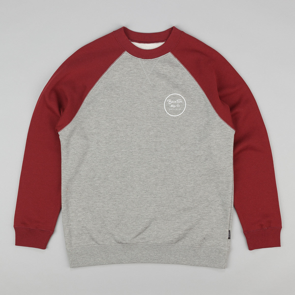 Brixton Wheeler Sweatshirt - Heather Grey / Burgundy