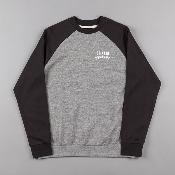 Brixton Woodburn II Crewneck Sweatshirt - Heather Grey / Washed Black