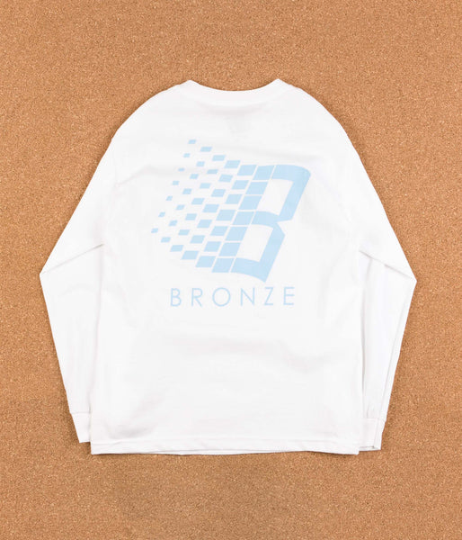 Bronze 56k B Logo Long Sleeve T-Shirt - White / Sky Blue