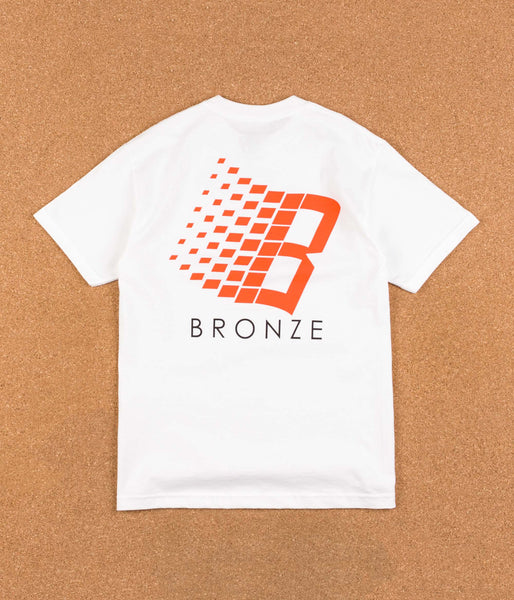 Bronze 56k B Logo T-Shirt - White / Orange / Yellow