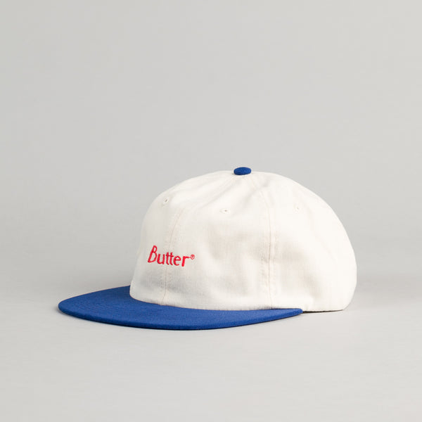 Butter Goods 2-Tone Brushed 6 Panel Cap - Natural / Royal
