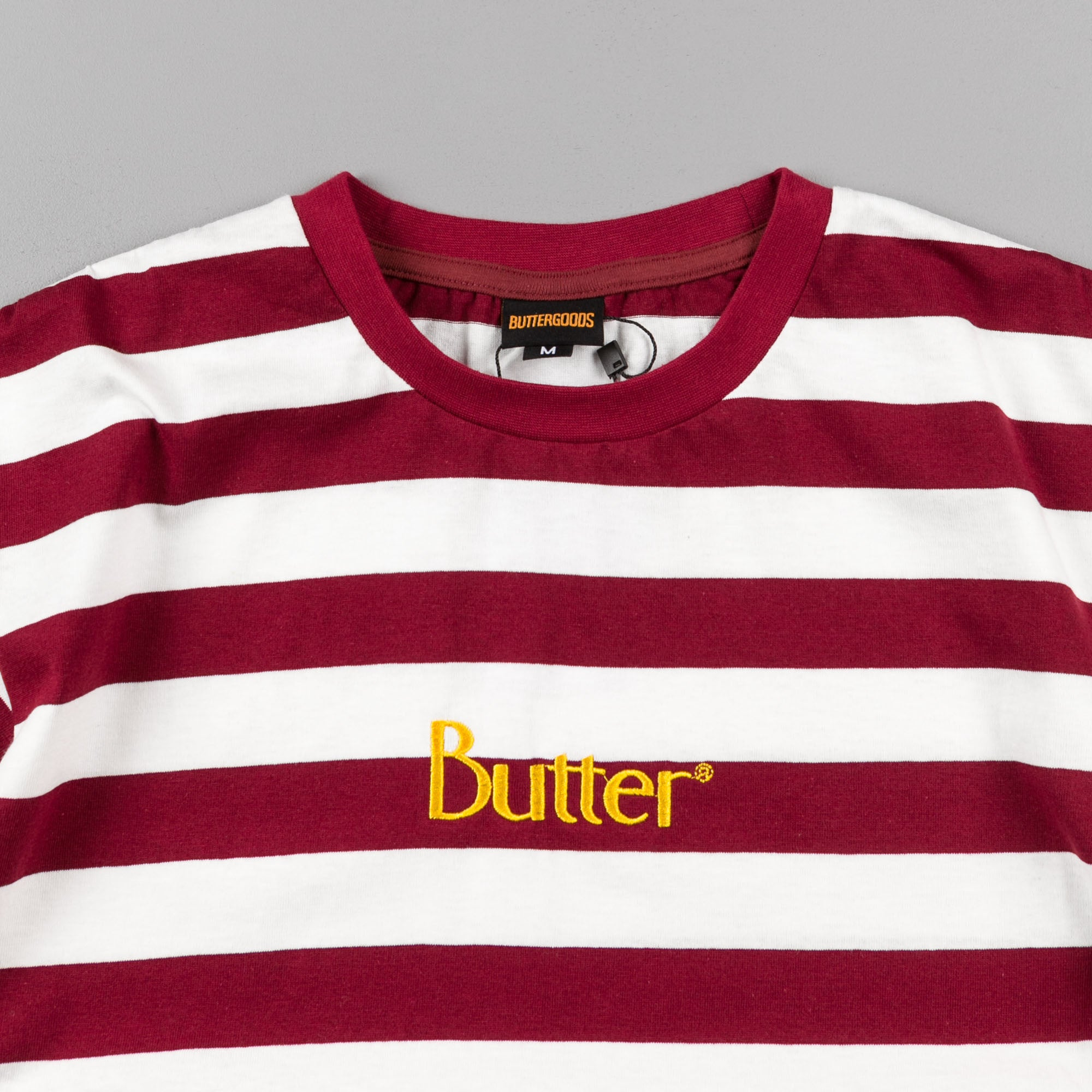 Butter Goods Classic Stripe T-Shirt - Burgundy
