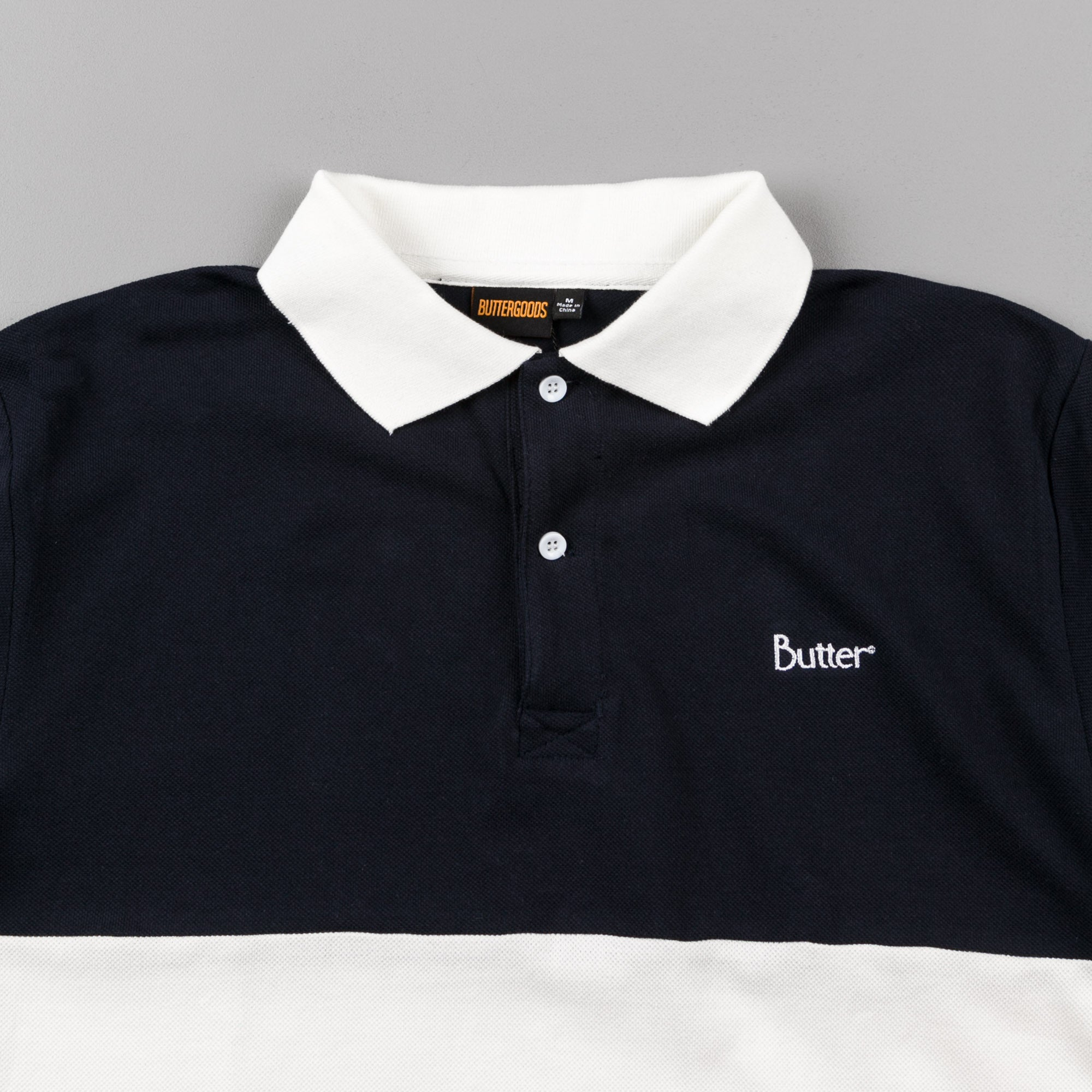 Butter Goods Court Polo Shirt - Navy / White / Pink