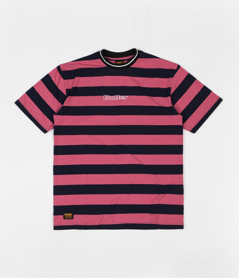 Butter Goods Jacquard Stripe T-Shirt - Coral / Navy