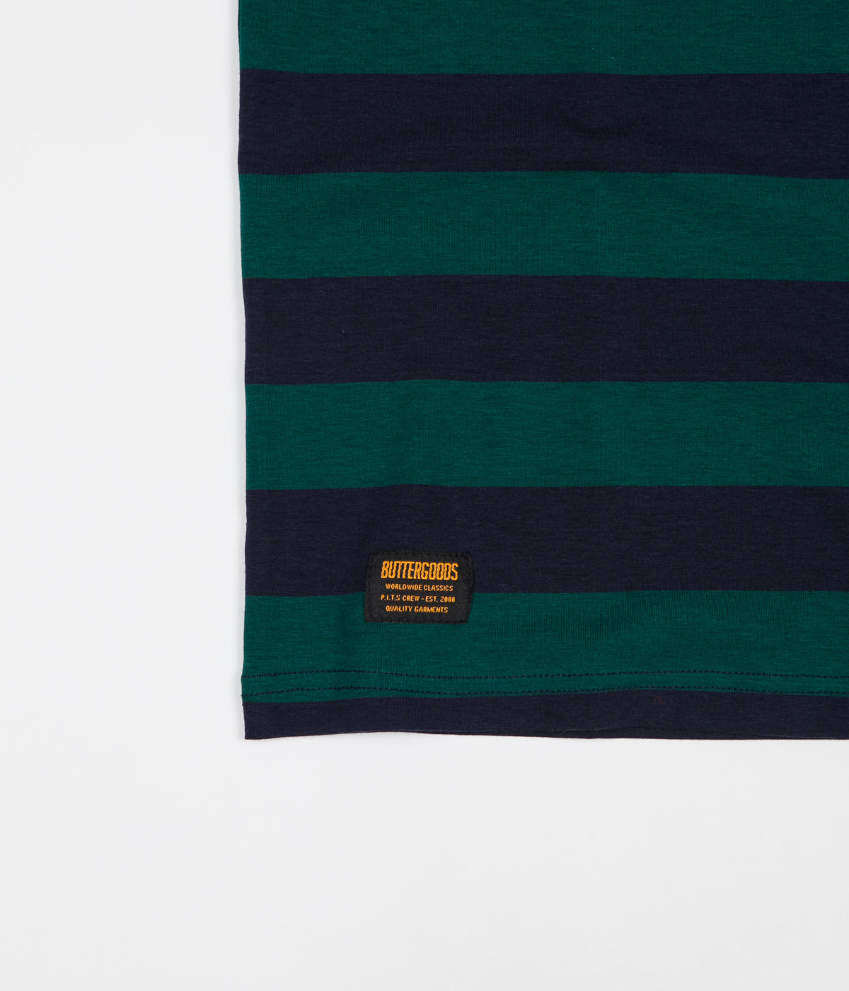 Butter Goods Jacquard Stripe T-Shirt - Forest / Navy