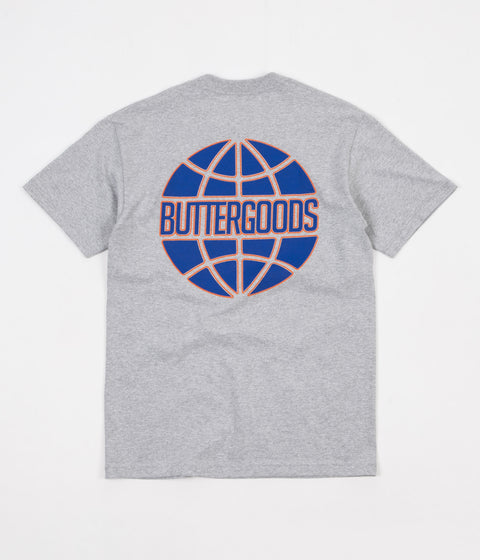 Butter Goods Keyline Worldwide Logo T-Shirt - Heather Grey