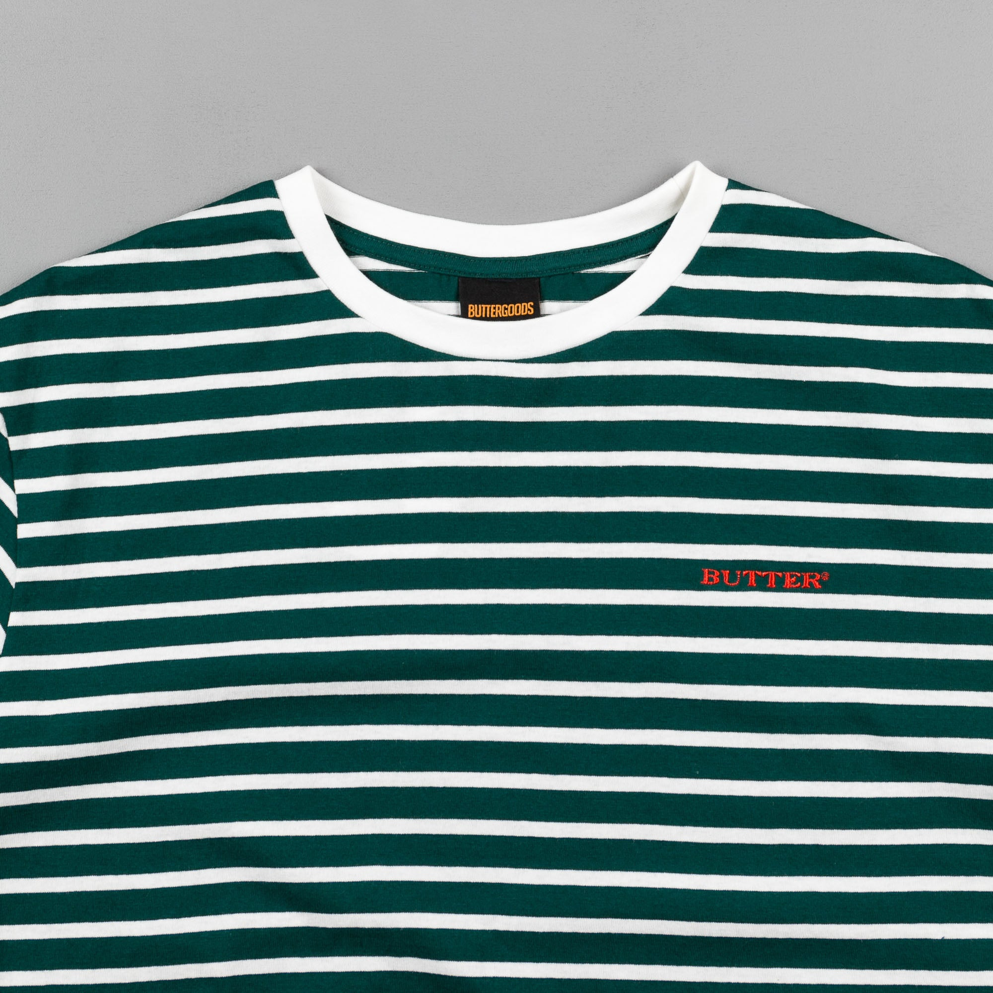 Butter Goods Milan Striped T-Shirt - Forest / Natural