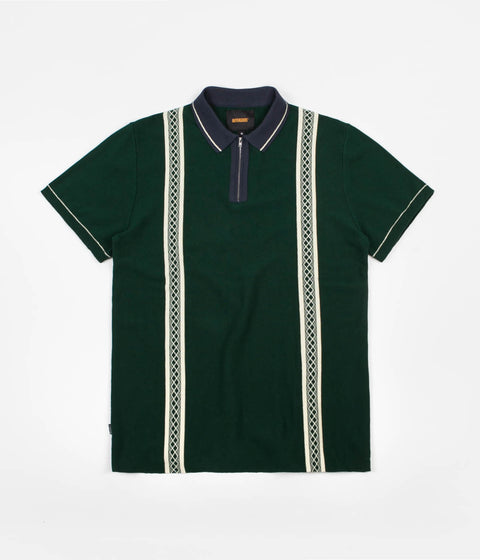 Butter Goods Newark Zip Polo Shirt - Forest