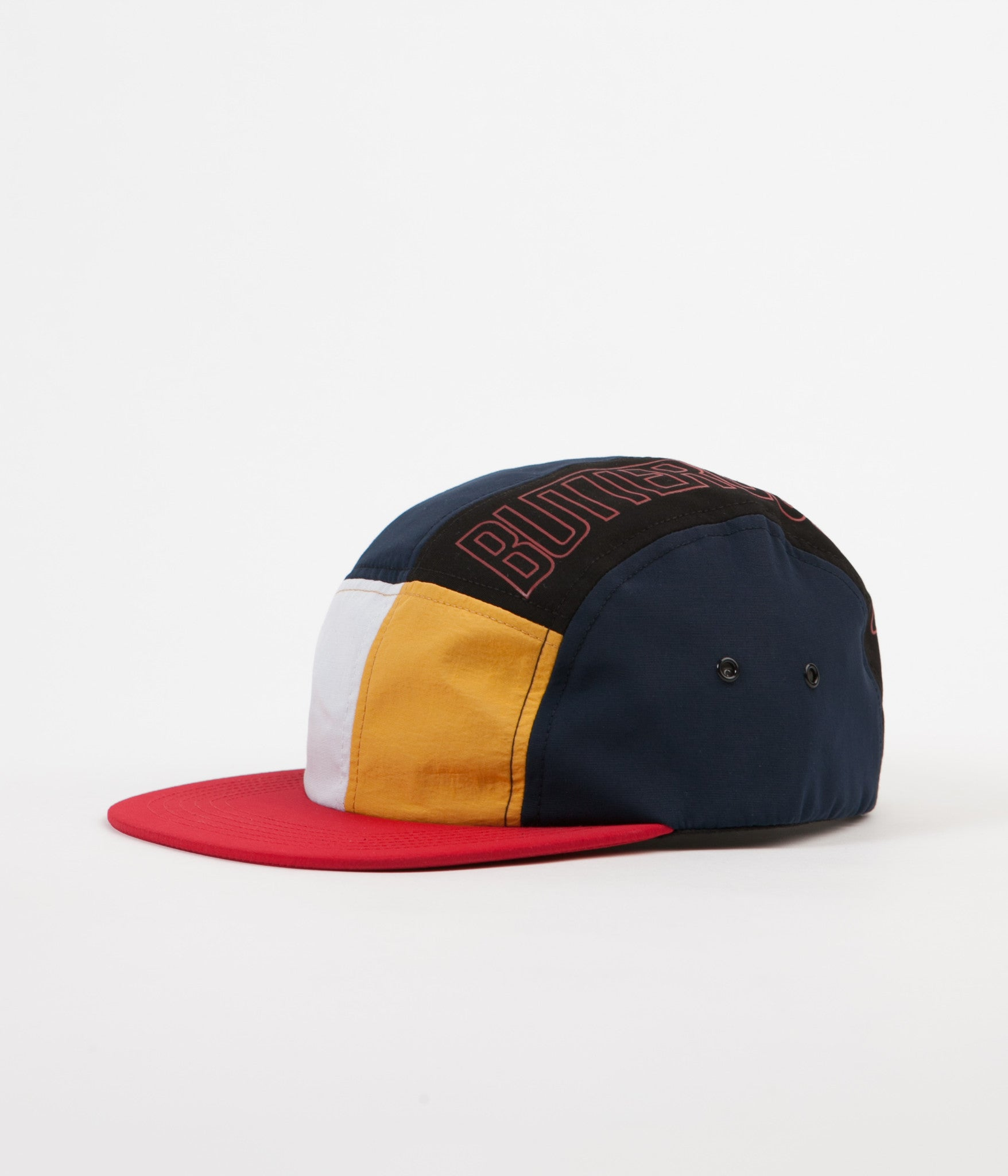 butter goods outline 5 panel cap navy mango red