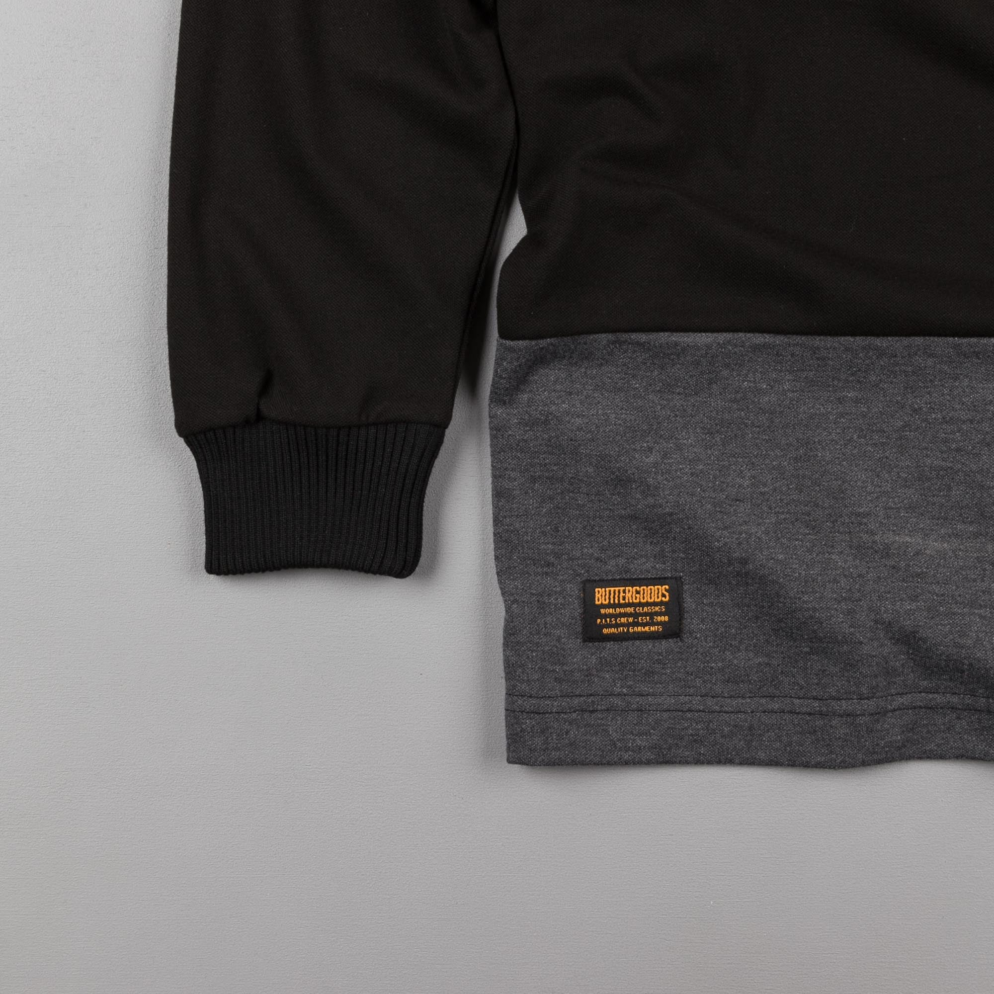 Butter Goods Rose Long Sleeve Polo Shirt - Black / Grey