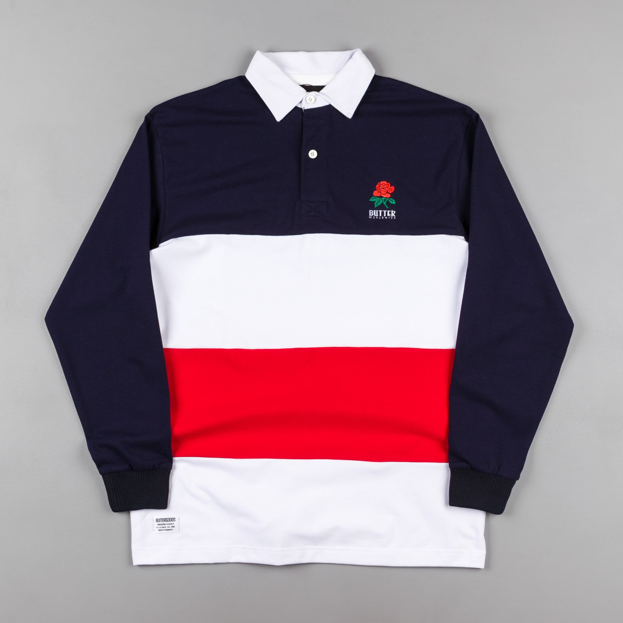 Butter Goods Rose Long Sleeve Polo Shirt - Navy / Red