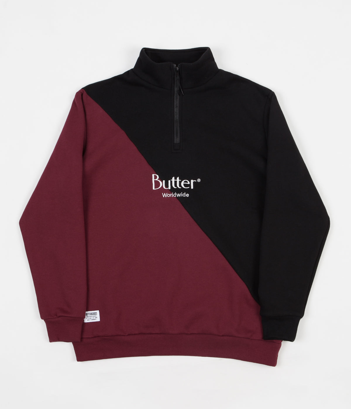 Butter Goods Split 1/4 Zip Sweatshirt - Black / Burgundy