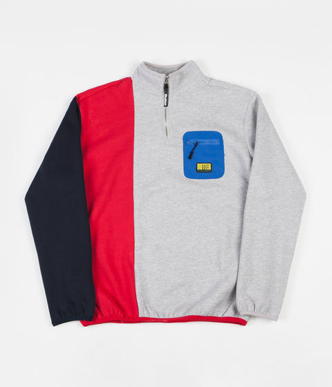 Butter Goods Tres 1/4 Zip Sweatshirt - Ash / Red / Navy