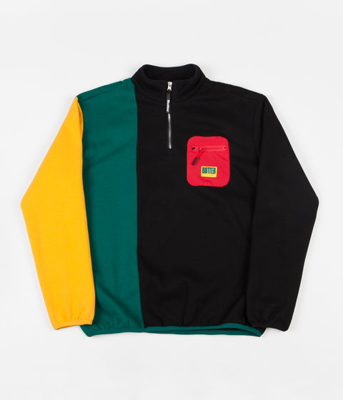 Butter Goods Tres 1/4 Zip Sweatshirt - Black / Teal / Gold