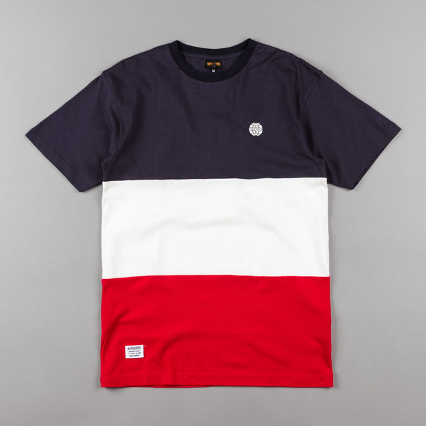 Butter Goods Tri-Block T-Shirt - Navy / White / Red