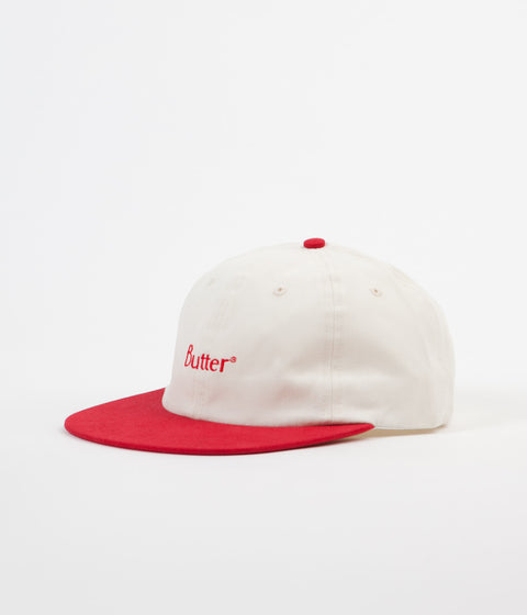 Butter Goods Two Tone Classic Logo 6 Panel Cap - Natural / Red