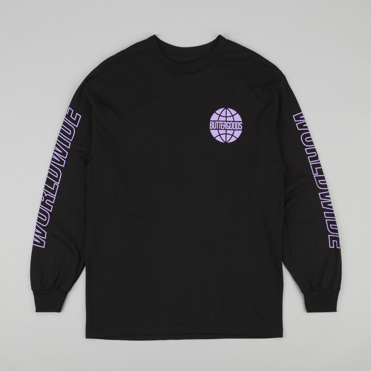 Butter Goods Worldwide Outline Long Sleeve T-Shirt - Black