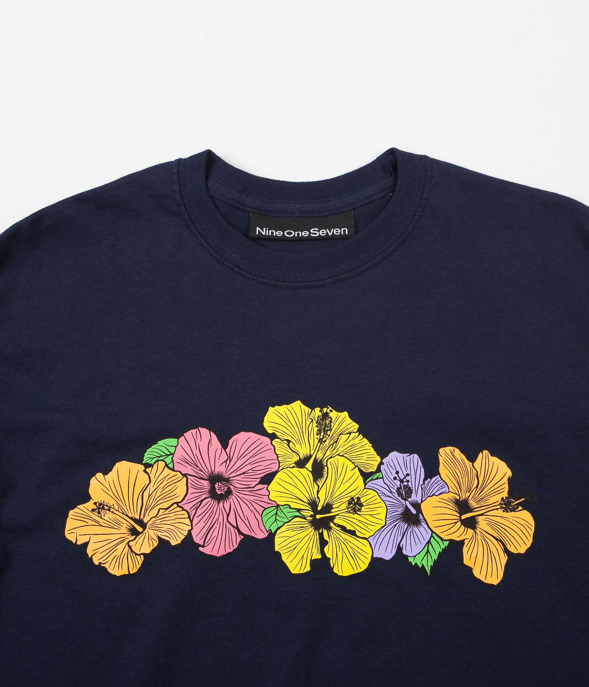 Call Me 917 Hibiscus Long Sleeve T-Shirt - Navy