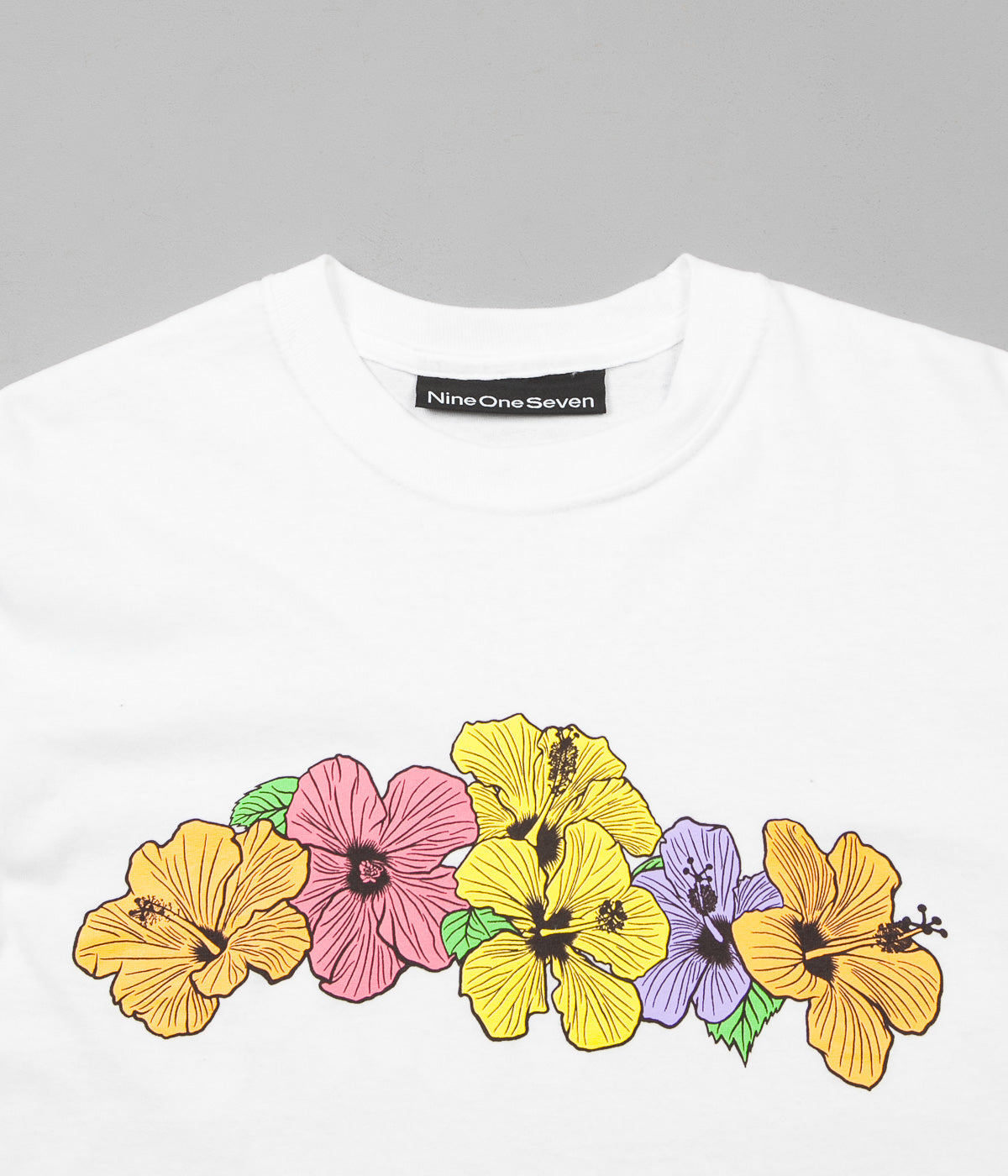 Call Me 917 Hibiscus Long Sleeve T-Shirt - White