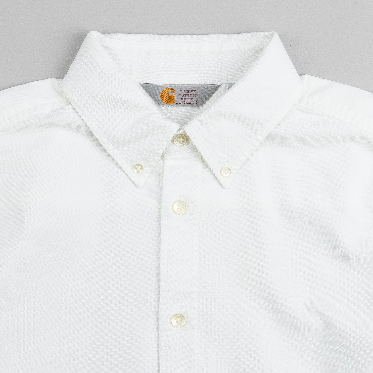 Carhartt Button Down Long Sleeve Shirt White Stone Washed