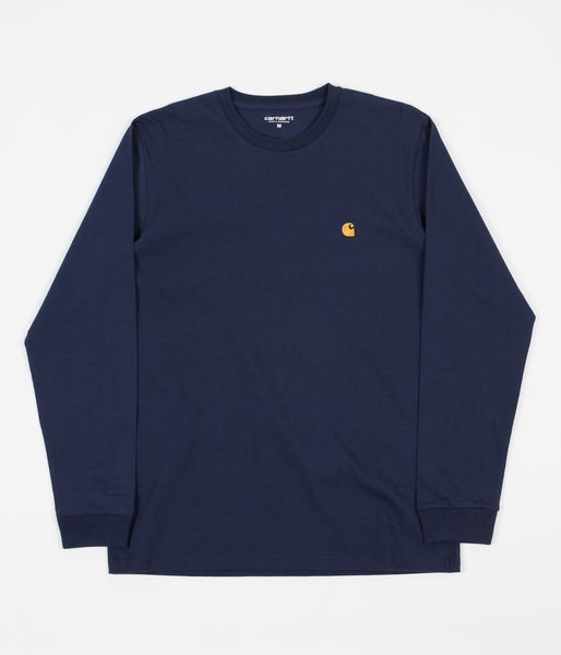 Carhartt Chase Long Sleeve T-Shirt - Blue / Gold
