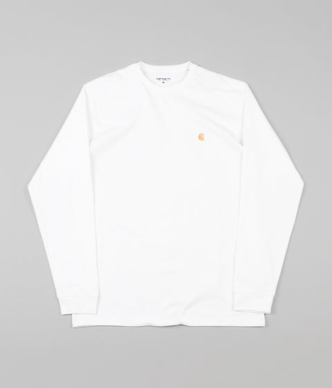 Carhartt Chase Long Sleeve T-Shirt - White / Gold