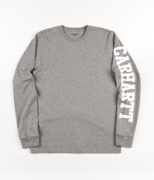 Carhartt college left long sleeve t shirt grey heather for Carhartt long sleeve t shirts white