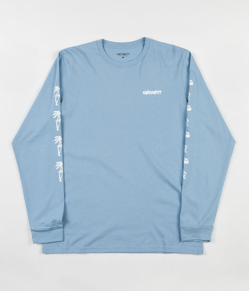 Carhartt Flamingo Script Long Sleeve T-Shirt - Glacier / White