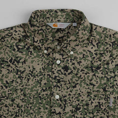 Carhartt Fuller Long Sleeve Shirt Camo Stain Green Rinsed