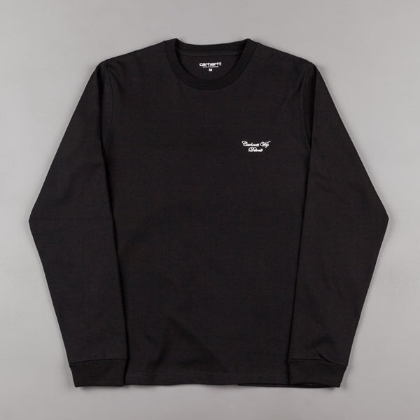 Carhartt Hand Script Long Sleeve T-Shirt - Black / White