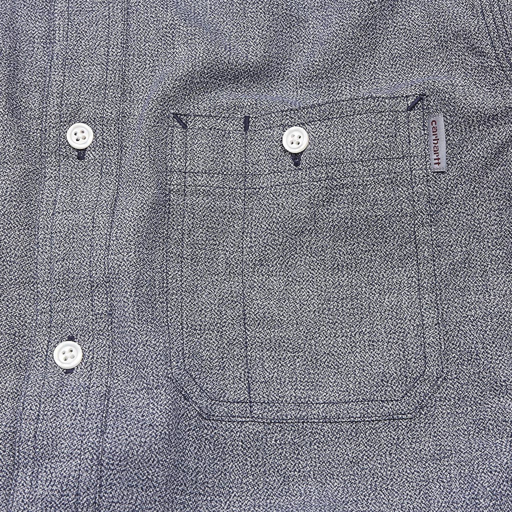 Carhartt Hermann Long Sleeve Shirt Blue Penny / Broken White Rinsed