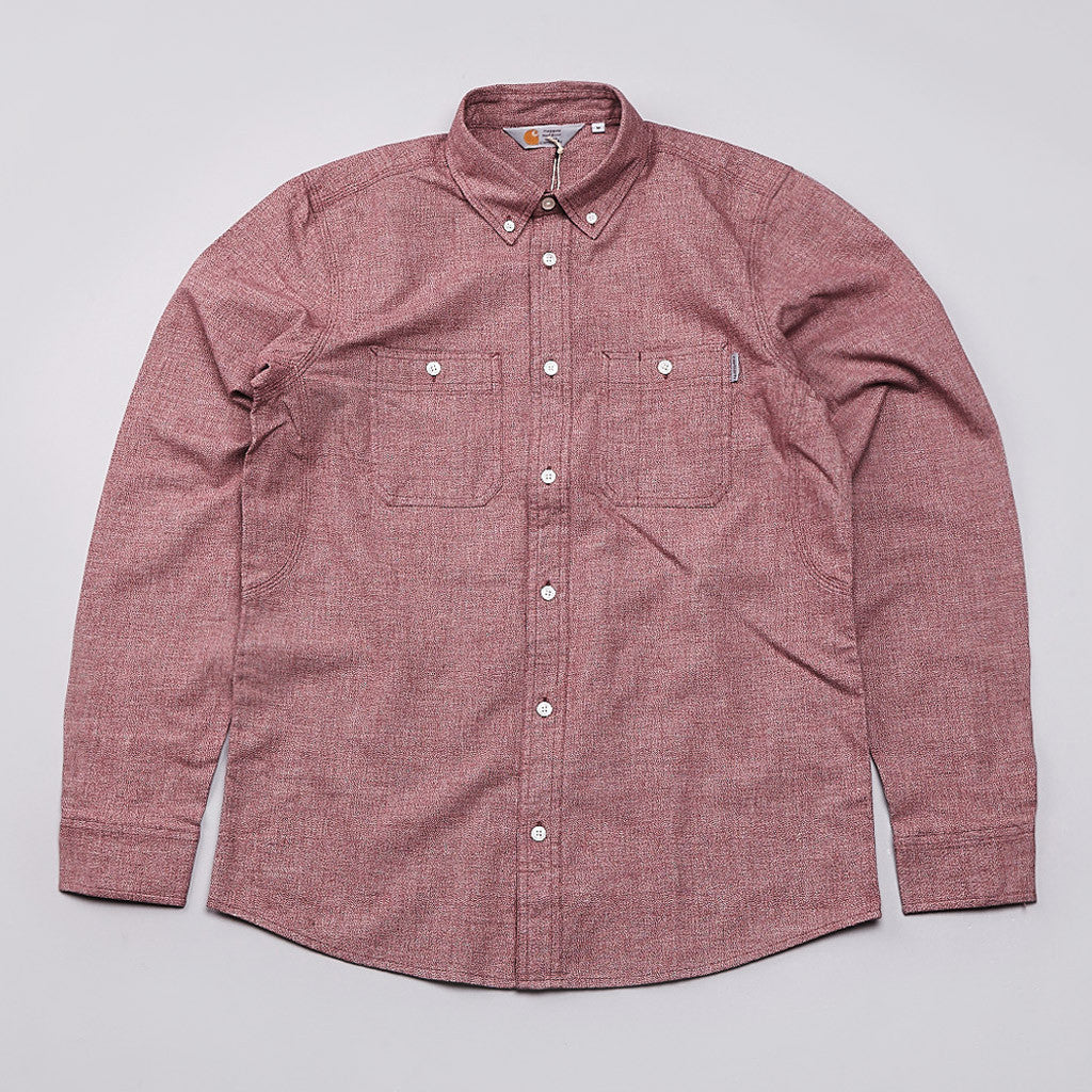 Carhartt Hermann Long Sleeve Shirt Cordovan / Broken White Rinsed
