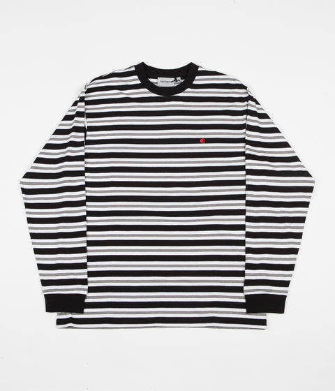 Carhartt Huron Long Sleeve T-Shirt - Black / Cardinal Stripe