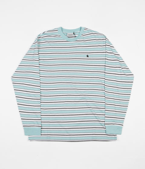 Carhartt Huron Long Sleeve T-Shirt - Soft Aloe / Black Stripe