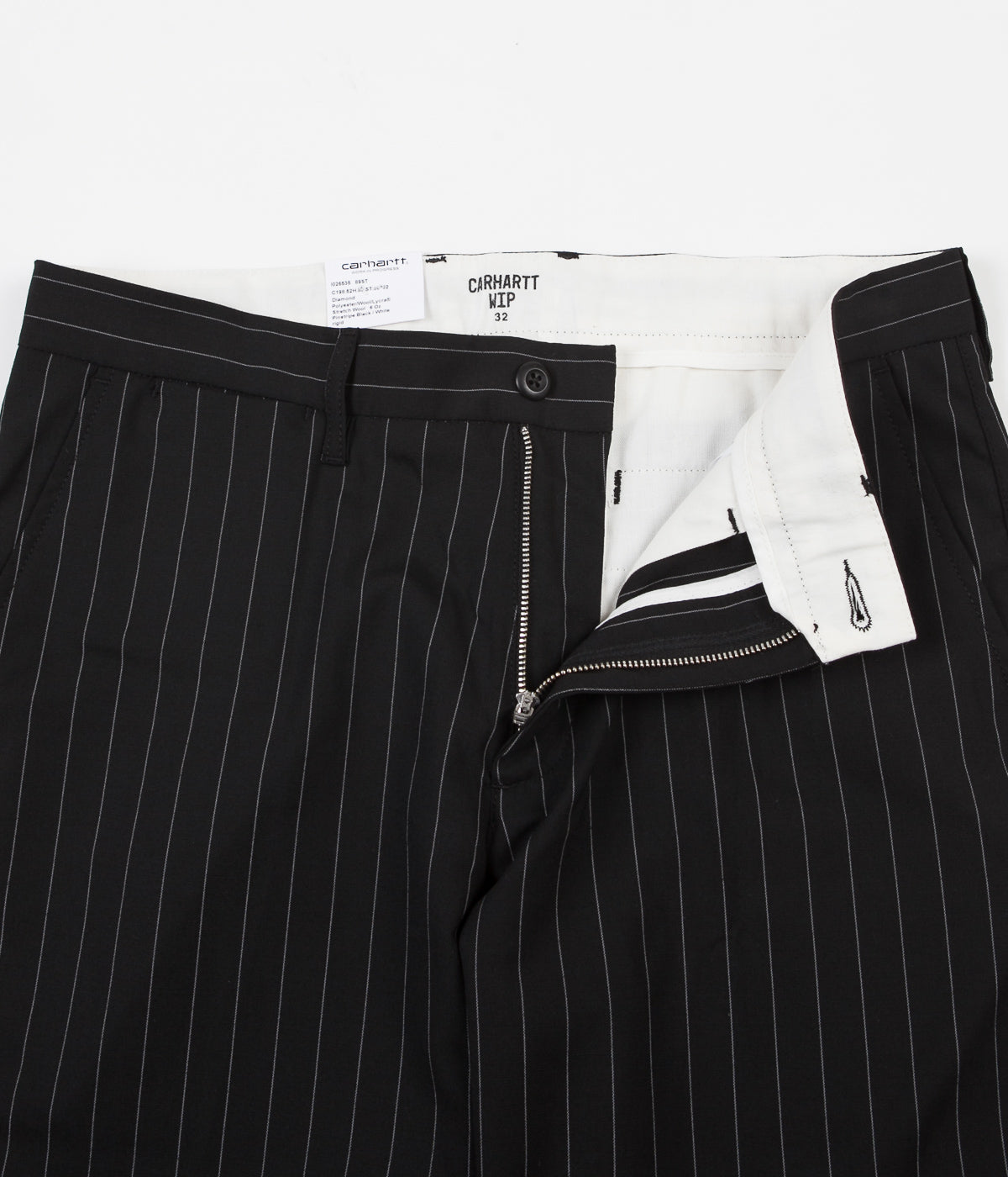 Carhartt Johnson Shorts - Pinstripe Black / White
