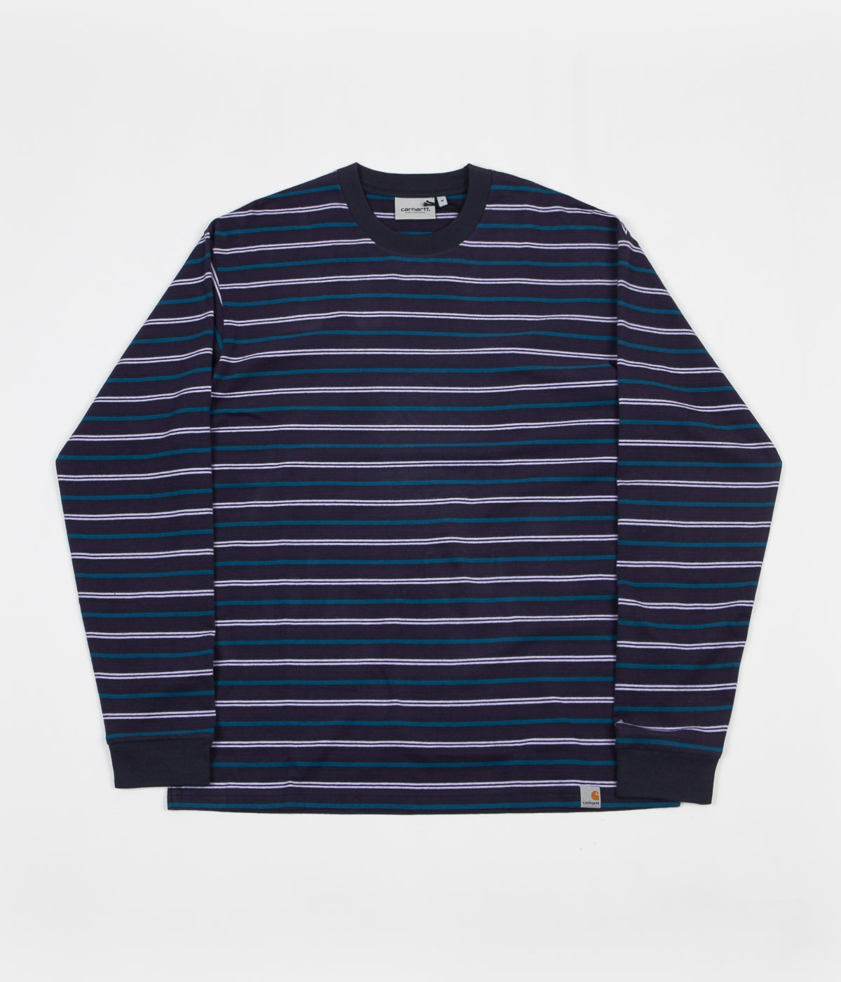 a7335f5afab4 Carhartt Korte Long Sleeve T-Shirt - Dark Navy Stripe | Flatspot