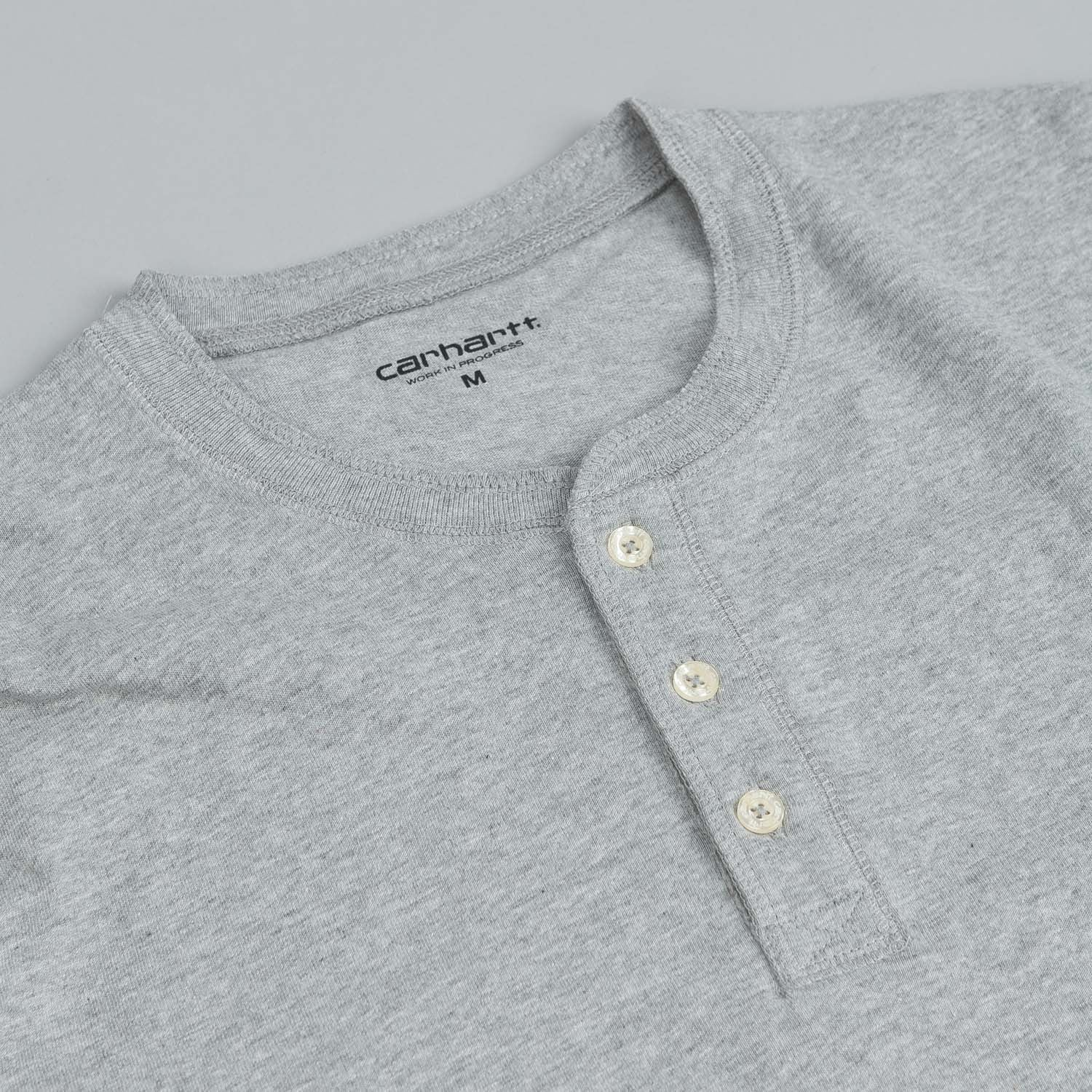 Carhartt Long Sleeve Henley T Shirt Heather Grey