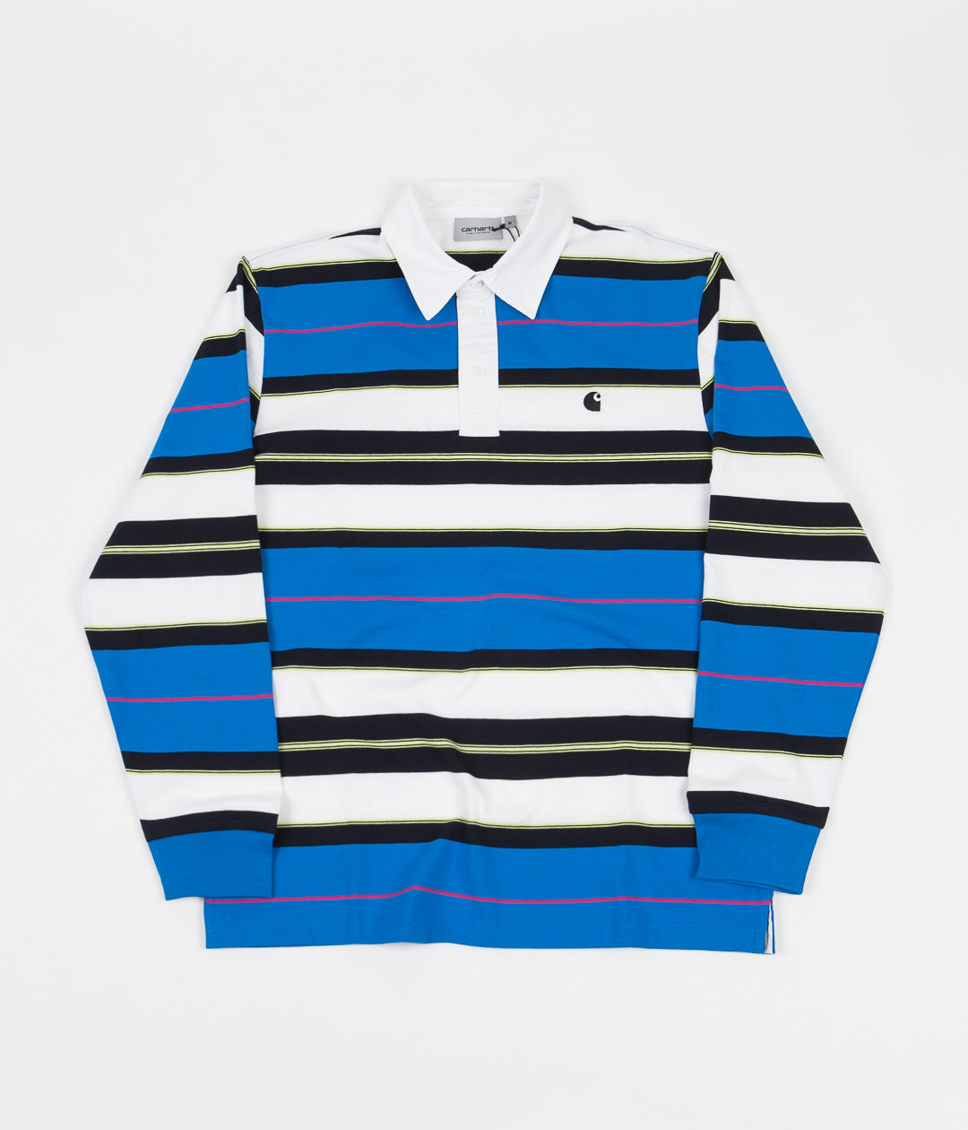 Carhartt Morgan Stripe Long Sleeve Polo Shirt - Azzuro